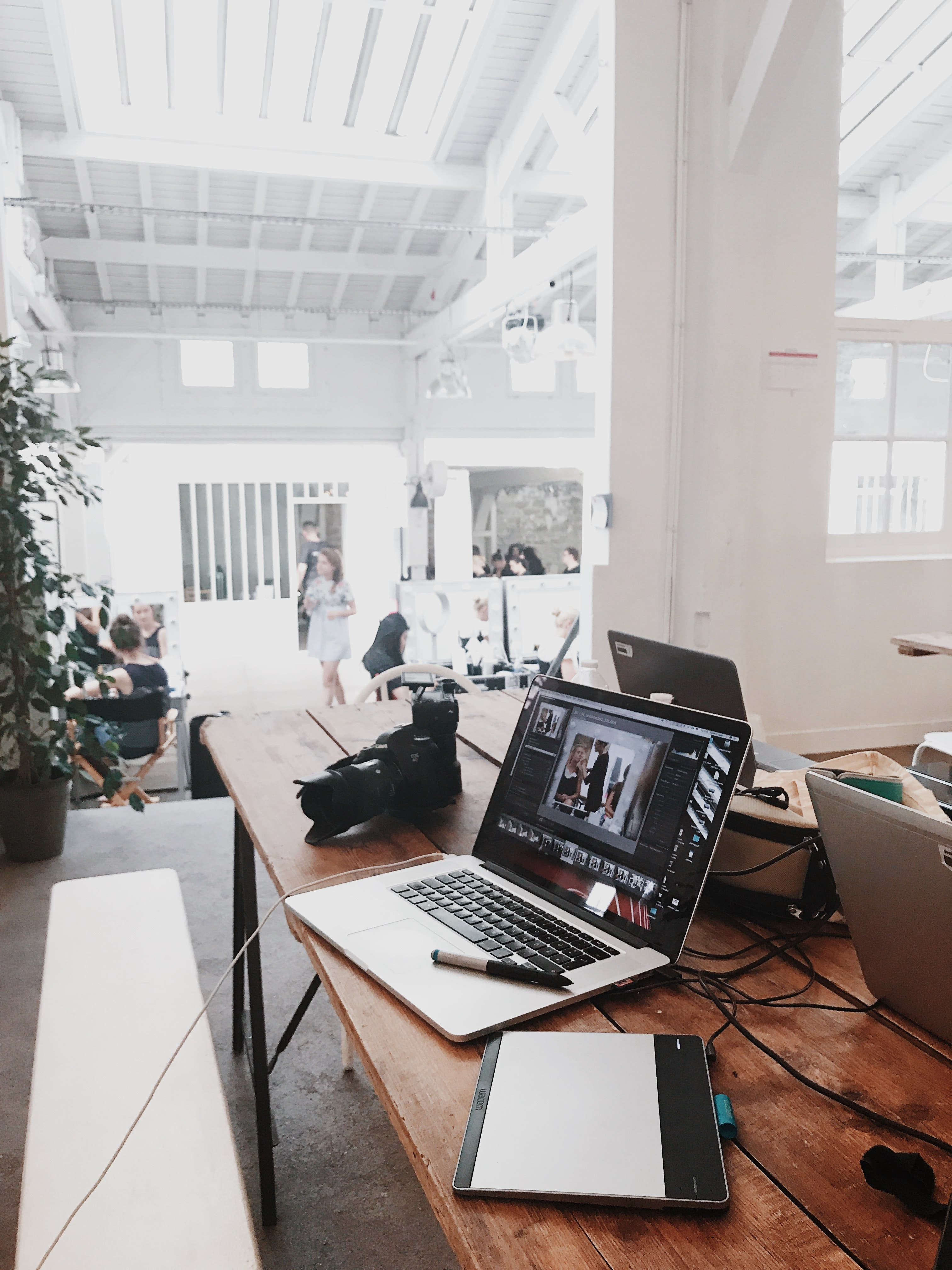 Office image with computer and camera